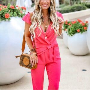 CeCe pink pant jumpsuit w/ front tie 6